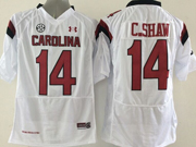 Mens Ncaa Nfl South Carolina Gamecock #14 C.shaw White (sec) Jersey