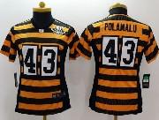 Women  Nfl Pittsburgh Steelers #43 Polamalu Yellow&black 80th Elite Jersey