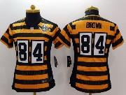 women  nfl Pittsburgh Steelers #84 Antonio Brown yellow&black 80th elite jersey
