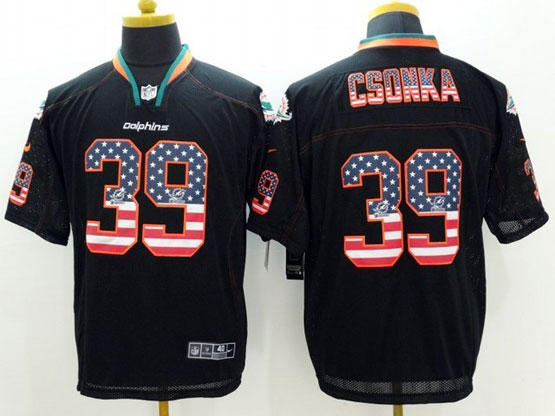 Mens Nfl Miami Dolphins #39 Csonka Black (2014 Usa Flag Fashion) Elite Jersey