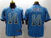 mens nfl san diego chargers #14 fouts light blue drift fashion elite jersey