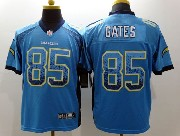mens nfl san diego chargers #85 gates light blue drift fashion elite jersey