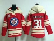 Mens Mlb Washington Nationals #31 Max Scherzer Red Hoodie Jersey