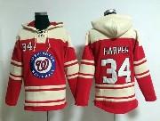 Mens Mlb Washington Nationals #34 Bryce Harper Red Hoodie Jersey