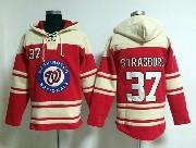 Mens Mlb Washington Nationals #37 Stephen Strasburg Red Hoodie Jersey