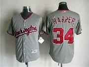 Mens Mlb Washington Nationals #34 Bryce Harper Gray Jersey