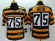Mens Nfl Pittsburgh Steelers #75 Greene Yellow&black 80th Elite Jersey