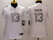 Women  Nfl Miami Dolphins #13 Marino White (silver Number) Platinum Limited Jersey