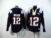 mens nfl New England Patriots #12 Tom Brady blue (2015 team) hoodie jersey