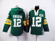 mens nfl Green Bay Packers #12 Aaron Rodgers green (2015 team) hoodie jersey