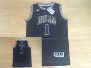 Mens Nba Chicago Bulls #1 Rose Black&white Fashion Swingman Jersey