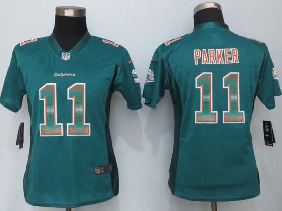 Women  New   Miami Dolphins #11 Parker Green Strobe Elite Jersey