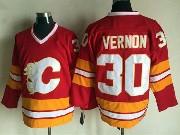 Mens Ccm Nhl Calgary Flames #30 Vernon Red Throwbacks Jersey