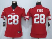 Women  Nfl San Francisco 49ers #28 Hyde Red Game Jersey