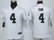 Mens Nike Nfl Oakland Raiders #4 Derek Carr Game White Jersey