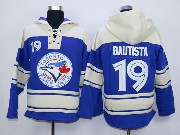 youth mlb Toronto Blue Jays #19 Jose Bautista blue hoodie jersey