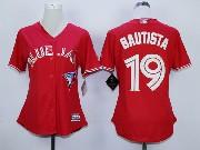 women mlb Toronto Blue Jays #19 Jose Bautista red (2012 majestic) jersey