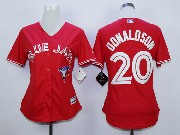 Women Mlb Toronto Blue Jays #20 Donaldson Red (2012 Majestic) Jersey