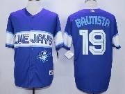 Mens Mlb Toronto Blue Jays #19 Jose Bautista Dark Blue 2015 Cool Base Vintage Jersey