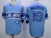 Mens Mlb Toronto Blue Jays #19 Jose Bautista Light Blue 2015 Cool Base Vintage Jersey