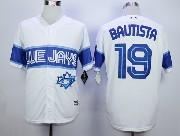 Mens Mlb Toronto Blue Jays #19 Jose Bautista White 2015 Cool Base Vintage Jersey