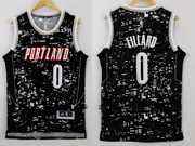 Mens Nba Portland Trail Blazers #0 Lillard Black Luminous Version Jersey