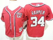 Kids Mlb Washington Nationals #34 Bryce Harper Red Jersey