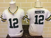 kids nfl Green Bay Packers #12 Aaron Rodgers white jersey