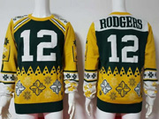 mens nfl Green Bay Packers #12 Aaron Rodgers yellow crew neck pullover ugly sweater