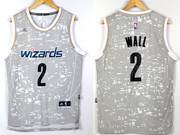 Mens Nba Washington Wizards #2 John Wall Gray Sun Version Jersey