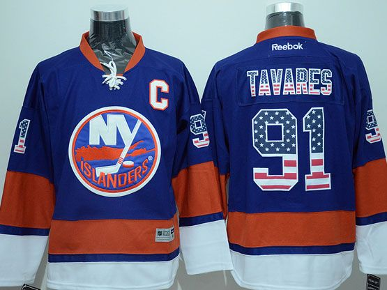 Mens reebok nhl new york islanders #91 tavares blue usa flag fashion Jersey