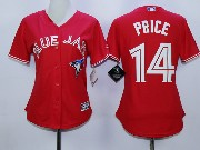Women Mlb Toronto Blue Jays #14 Price Red Majestic Jersey