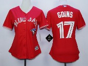 Women Mlb Toronto Blue Jays #17 Goins Red Majestic Jersey