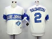 Mens Mlb Toronto Blue Jays #2 Tulowitzki White 2015 Cool Base Vintage Jersey