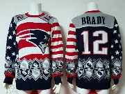 mens nfl New England Patriots #12 Tom Brady blue crew neck pullover ugly sweater