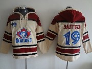 mens mlb Toronto Blue Jays #19 Jose Bautista cream hoodie jersey