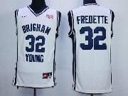 Mens Ncaa Nba Brigham Young #32 Fredette White Jersey