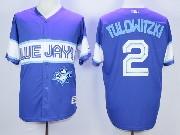 Mens Mlb Toronto Blue Jays #2 Tulowitzki Dark Blue 2015 Cool Base Vintage Jersey