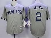 Mens Mlb New York Yankees #2 Jeter Gray Jersey