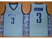 Mens Ncaa Nfl Georgetown Hoyas #3 Iverson Gray Jersey