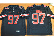Mens Ncaa Nfl Ohio State Buckeyes #97 Bosa Black (red Number Collar Team Name) Jersey