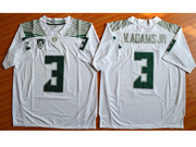 Mens Ncaa Nfl Oregon Ducks #3 V.adams Jr White (green Number) Jersey