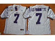 Mens Ncaa Nfl Lsu Tigers #7 Leonard Fournette White Jersey Sn