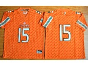 Mens Ncaa Nfl Miami Hurricanes Custom Made Orange Jersey