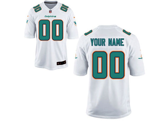 Nfl Miami Dolphins (custom Made) White Game Jersey