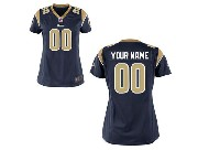 Women Nfl St. Louis Rams (custom Made) Blue Game Jersey
