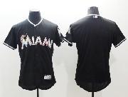 mens majestic mlb miami marlins blank black Flex Base jersey