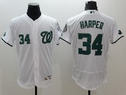 mens majestic washington nationals #34 bryce harper white green number Flex Base jersey