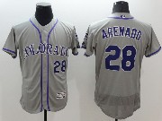 mens majestic colorado rockies #28 nolan arenado gray Flex Base jersey