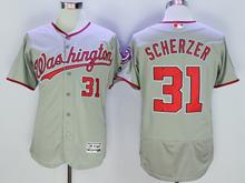 Mens Mlb Washington Nationals #31 Max Scherzer Gray Flex Base Jersey